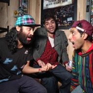 NEW YORK - OCTOBER 22:  Himanshu Suri, Victor Vazquez and Dap of Das Racist pose for a portrait backstage at the Webster Hall as part of the 2009 CMJ Music Marathon & Film Festival on October 22, 2009 in New York City.  (Photo by Roger Kisby/Getty Images)