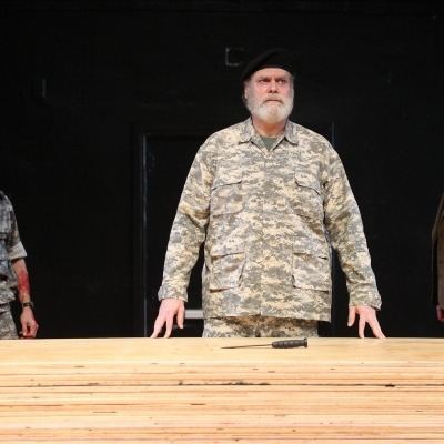 "Rob Campbell, Jay O. Sanders, and Sherman Howard in ""Titus Andronicus"" at the Public Theater."