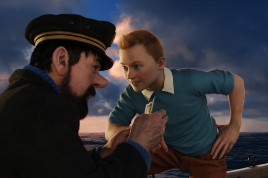 Left to right: Captain Haddock (Andy Serkis) and Tintin (Jamie Bell) in THE ADVENTURES OF TINTIN, from Paramount Pictures and Columbia Pictures in association with Hemisphere Media Capital.