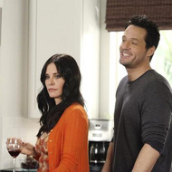 "COUGAR TOWN - ""You're Gonna Get It"" - When Bobby leaves his lucky golf visor behind on the eve of his big professional golf tournament, Jules sends Travis along with the cap to look after his dad and Andy, on ABC's ""Cougar Town,"" WEDNESDAY, APRIL 27 (9:31-10:00 p.m., ET). Meanwhile, Jules tries to overcome her biggest fear - public humiliation - and Ellie and Grayson are astounded at how good Laurie is at a game of trivia. (ABC/DANNY FELD) COURTENEY COX, JOSH HOPKINS"