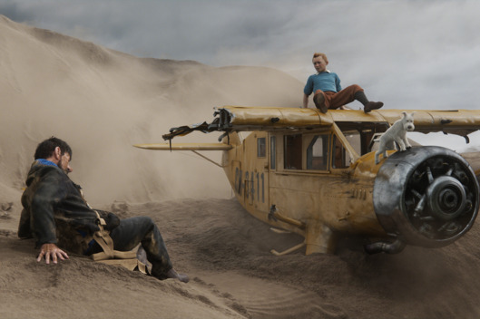 Left to right: Captain Haddock (Andy Serkis), Tintin (Jamie Bell), and Snowy in THE ADVENTURES OF TINTIN, from Paramount Pictures and Columbia Pictures in association with Hemisphere Media Capital.