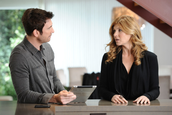 AMERICAN HORROR STORY: Episode 12: Afterbirth (Airs December 21, 10:00 pm e/p). L-R: Dylan McDermott and Connie Britton. CR: Prashant Gupta / FX.