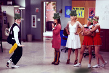 "GLEE: Kurt (Chris Colfer, L) interrupts a performance by Tina (Jenna Ushkowitz, second from L), Quinn (Dianna Agron, third from L), Santana (Naya Rivera, fourth from L) and Brittany (Heather Morris, R) in the ""I Kissed a Girl"" episode of GLEE airing Tuesday, Nov. 29 (8:00-9:00 PM ET/PT) on FOX. ©2011 Fox Broadcasting Co. Cr: Adam Rose/FOX"
