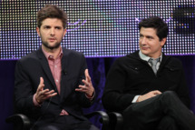"PASADENA, CA - JANUARY 16: Actors Adam Scott (L) and Ken Marino of the television show ""Party Down"" speak during the Starz Network portion of The 2010 Winter TCA Press Tour at the Langham Hotel on January 16, 2010 in Pasadena, California.  (Photo by Frederick M. Brown/Getty Images) *** Local Caption *** Adam Scott;Ken Marino"