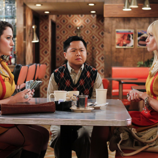 """And The 90's Horse Party"" -- Han Lee (Matthew Moy, center) joins Max (Kat Dennings, left) and Caroline (Beth Behrs, right) as they count their earnings from a 90s-themed party they threw to raise funds for their cupcake business, on 2 BROKE GIRLS, Monday, Oct. 17 (8:30-9:00 PM, ET/PT) on the CBS Television Network.Photo: Cliff Lipson/CBS?2011 CBS Broadcasting, Inc. All Rights Reserved."