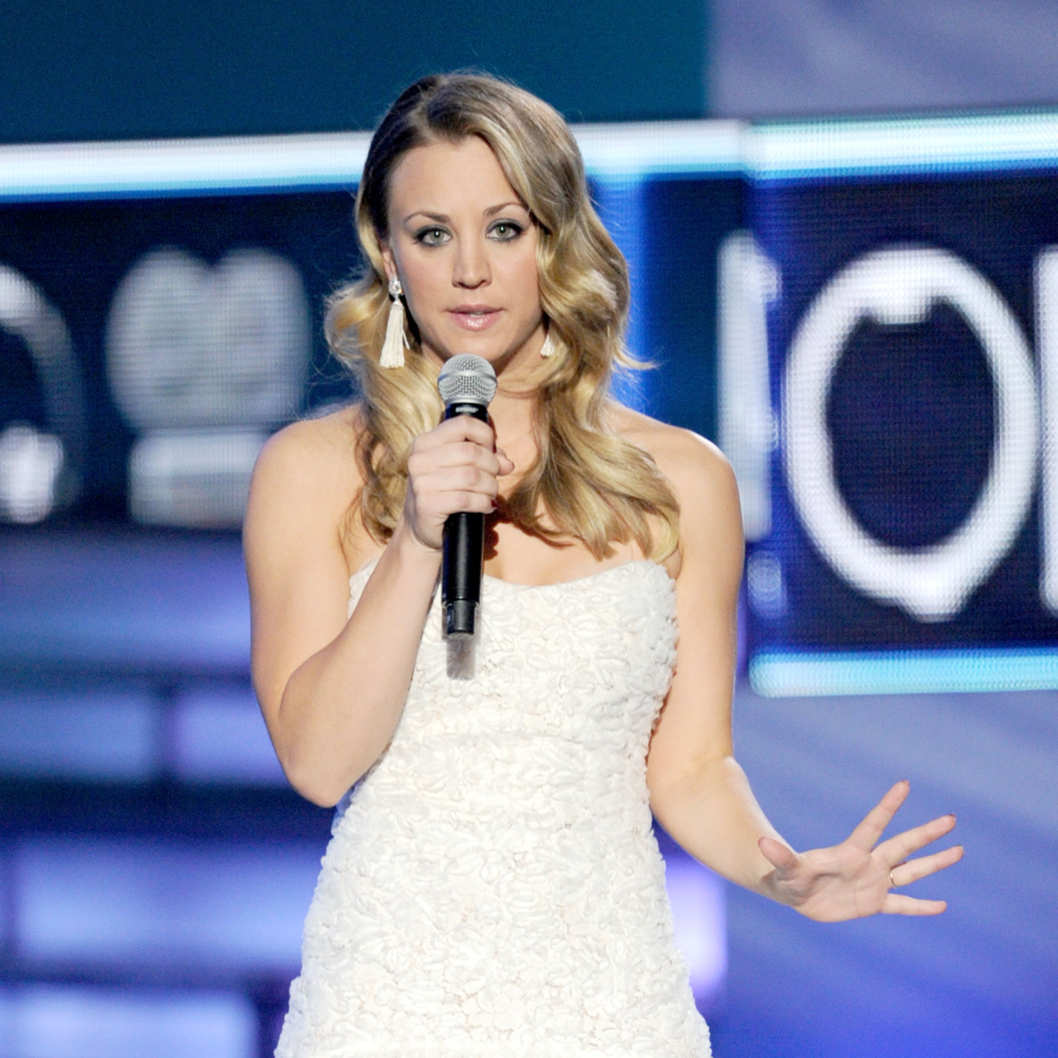 LOS ANGELES, CA - JANUARY 11:  Host Kaley Cuoco speaks onstage at the 2012 People's Choice Awards at Nokia Theatre L.A. Live on January 11, 2012 in Los Angeles, California.  (Photo by Kevin Winter/Getty Images)