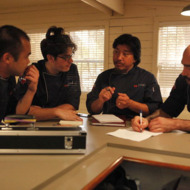 "TOP CHEF -- ""Restaurant Wars"" Episode 910 -- Pictured: (l-r) Paul Qui, Chris Jones, Edward Lee, Tylor Boring -- Photo by: Vivian Zink/Bravo"