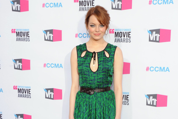 LOS ANGELES, CA - JANUARY 12:  Actress Emma Stone arrives at the 17th Annual Critics Choice Movie Awards at The Hollywood Palladium on January 12, 2012 in Los Angeles, California.  (Photo by Jon Kopaloff/FilmMagic)