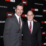 "LOS ANGELES, CA - JULY 20:  Jon Hamm (L) and Matthew Weiner arrive to AMC's ""Mad Men"" season 4 premiere held at Mann Chinese 6 on July 20, 2010 in Los Angeles, California.  (Photo by Michael Tran/FilmMagic)"