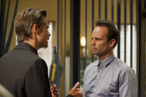 JUSTIFIED: Episode 301: THE GUNFIGHTER (Airs Jan. 17, 10:00 PM ET/PT). Pictured L-R: Timothy Olyphant and Walton Goggins. CR: Prashant Gupta / FX.