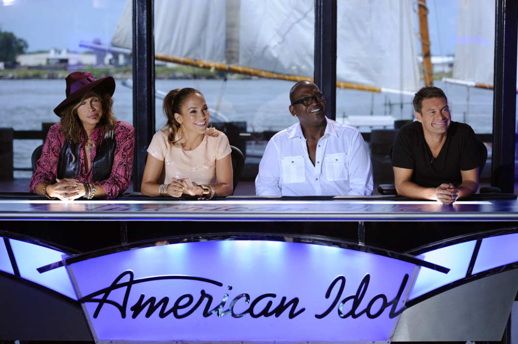 AMERICAN IDOL: L-R: Steven Tyler, Jennifer Lopez, Ryan Seacrest and Randy Jackson answer questions from the press on the set of AMERICAN IDOL Thursday, Aug. 18 in Savannah, GA. AMERICAN IDOL returns for the 11'th season on FOX. CR: Michael Becker / FOX.