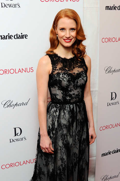 "NEW YORK, NY - JANUARY 17:  Actress Jessica Chastain attends the premiere of ""Coriolanus"" at Paris Theater on January 17, 2012 in New York City.  (Photo by Andrew H. Walker/Getty Images)"