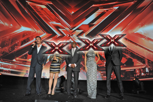 "THE X FACTOR: (L-R) Simon Cowell, Paula Abdul, L.A. Reid, Nicole Scherzinger and Steve Jones address the audience at FOX's ""The X Factor"" World Premiere Screening Event at the Arclight Cinerama Dome on September 14, 2011 in Hollywood, California. The two-night series premiere of THE X FACTOR airs on Wednesday, September 21 (8-10pm ET/PT) and Thursday, September 22 (8-10pm ET/PT) on FOX. (Photo by Mark Davis/PictureGroup)"