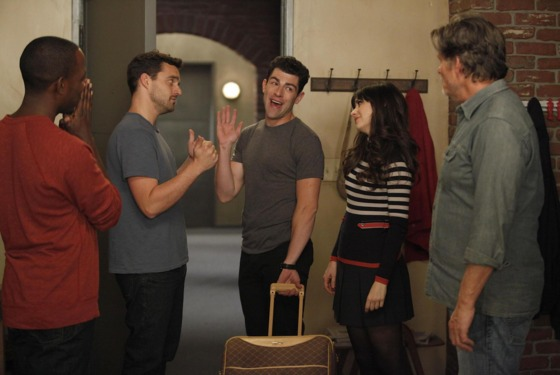"NEW GIRL:  L-R:  Winston (Lamorne Morris), Nick (Jake Johnson), Schmidt (Max Greenfield) and Jess (Zooey Deschanel) have a secret they are keeping from their landlord (guest star Jeff Kober, R) in the ""Landlord"" episode of NEW GIRL, airing Tuesday, Feb. 7 (9:00-9:31 PM ET/PT) on FOX.  ©2011 Fox Broadcasting Co.  Cr:  Greg Gayne/F"