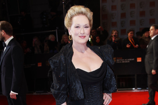 LONDON, ENGLAND - FEBRUARY 12:  (UK TABLOID NEWSPAPERS OUT) Meryl Streep attends The Orange British Academy Film Awards 2012 at The Royal Opera House on February 12, 2012 in London, England.  (Photo by Dave Hogan/Getty Images)