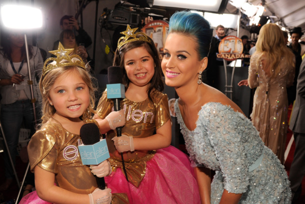LOS ANGELES, CA - FEBRUARY 12:  Rosie, Sophia Grace and Katy Perry arrive at The 54th Annual GRAMMY Awards at Staples Center on February 12, 2012 in Los Angeles, California.  (Photo by Kevin Mazur/WireImage)