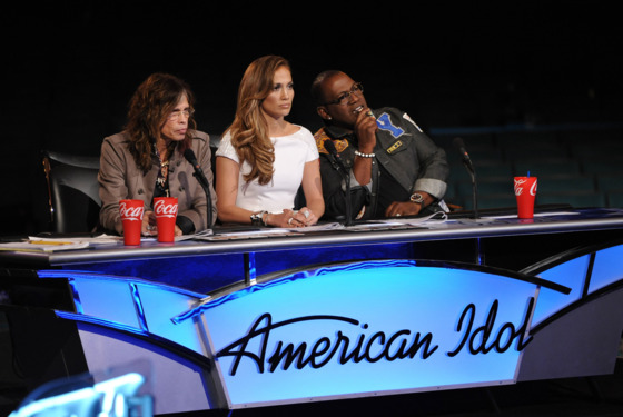 AMERICAN IDOL: Hollywood: L-R: Steven Tyler, Jennifer Lopez and Randy Jackson on AMERICAN IDOL airing Wednesday, Feb. 15 (8:00-10:00 PM ET/PT) on FOX. CR: Michael Becker / FOX.