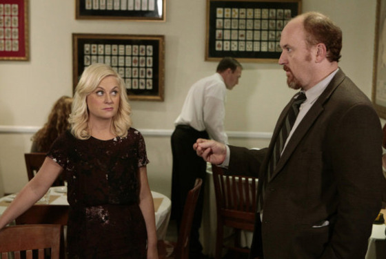 "PARKS AND RECREATION -- ""Dave Returns"" Episode 415 -- Pictured: (l-r) Amy Poehler as Leslie Knope, Louis C.K. as Dave Sanderson-- Photo by: Chris Haston/NBC"