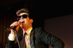 "NEW YORK, NY - FEBRUARY 16:  Robin Thicke performs at the 2012 Nomad's Way gala to benefit ""The Alem Program"" at The New York Public Library on February 16, 2012 in New York City.  (Photo by Jamie McCarthy/Getty Images)"