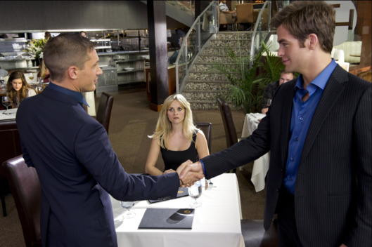 "Still of Tom Hardy, Reese Witherspoon and Chris Pine in ""This Means War""."