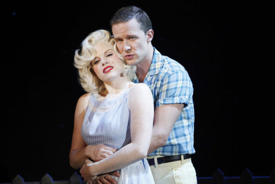 "SMASH -- ""Mr. DiMaggio"" Episode 103 -- Pictured: (l-r) Megan Hilty as Ivy Lynn (as Marilyn Monroe)  and Will Chase as Michael Swift (as Joe DiMaggio) -- Photo by: Will Hart/NBC"