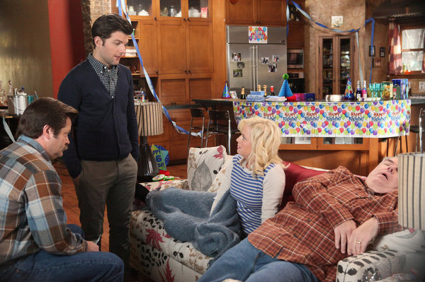 "PARKS AND RECREATION -- ""Jerry's Sweet 16"" Episode 416 -- Pictured: (l-r) Nick Offerman as Ron Swanson, Adam Scott as Ben Wyatt, Amy Poehler as Leslie Knope, Jim O'Heir as Jerry Gergich."