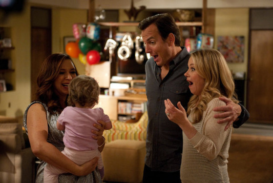 "UP ALL NIGHT -- ""First Birthday"" Episode 117 -- Pictured: (l-r) Maya Rudolph as Ava, Will Arnett as Chris, Christina Applegate as Reagan -- Photo by: Colleen Hayes/NBC"