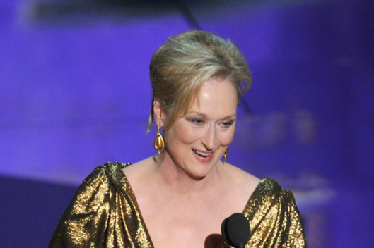 Actress Meryl Streep accepts the Best Actress Award for 'The Iron Lady'