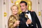 HOLLYWOOD, CA - FEBRUARY 26:  Actress Meryl Streep (L), winner of the Best Actress Award for 'The Iron Lady,' and actor Jean Dujardin, winner of the Best Actor Award for 'The Artist,' pose in the press room at the 84th Annual Academy Awards held at the Hollywood & Highland Center on February 26, 2012 in Hollywood, California.  (Photo by Jason Merritt/Getty Images)