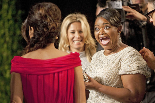 Oscar winner Octavia Spencer (R) reacts to seeing Salma Hayek on the carpet as they arrive at the Vanity Fair Oscar Party for the 84th Annual Academy Awards at the Sunset Tower on February 26, 2012 in West Hollywood, California. AFP PHOTO / ADRIAN SANCHEZ-GONZALEZ (Photo credit should read ADRIAN SANCHEZ-GONZALEZ/AFP/Getty Images)