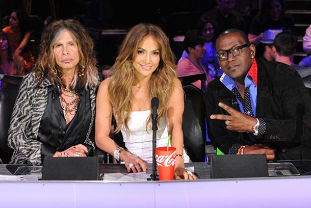 AMERICAN IDOL:  L-R: Steven Tyler, Jennifer Lopez and Randy jackson on AMERICAN IDOL airing Tuesday, Feb. 28 (8:00-10:00 PM ET/PT) on FOX. CR: Michael Becker / FOX.