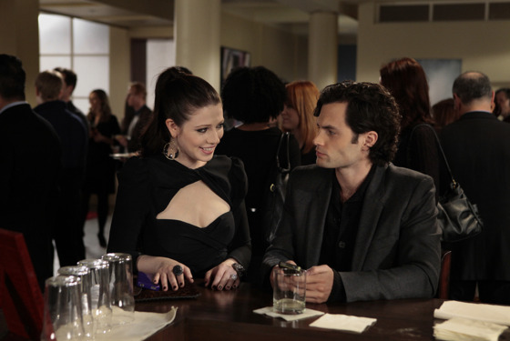 """The Princess Dowry"" GOSSIP GIRL Pictured (L-R) Michelle Trachtenberg as Georgina Sparks and Penn Badgley as Dan Humphrey PHOTO CREDIT:  GIOVANNI RUFINO/THE CW © 2011 THE CW Network, LLC.  All Rights Reserved."