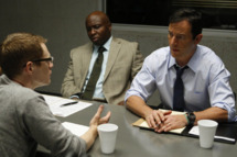 "AWAKE -- ""The Little Guy"" Episode 102 -- Pictured: (l-r) Steve Harris as Bird, Jason Isaacs as Britten -- Photo by: Vivian Zink/NBC"