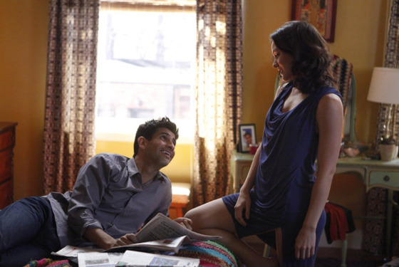 "SMASH -- ""Chemistry"" Episode 106 -- Pictured: (l-r) Raza Jaffrey as Dev Sundaram, Katharine McPhee as Karen Cartwright -- (Photo by: Patrick Harbron/NBC)"