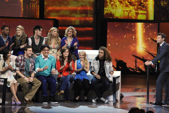 AMERICAN IDOL: The final 11 and Ryan Seacrest (R) on AMERICAN IDOL airing Thursday, March 15 (8:00-9:00 PM ET/PT) on FOX. CR: Michael Becker / FOX.