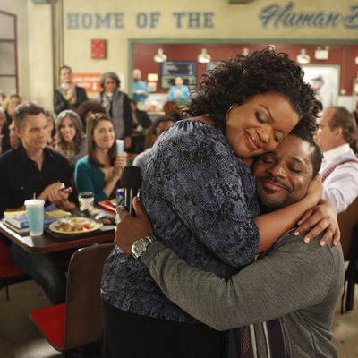 "COMMUNITY -- ""Urban Matrimony and the Sandwich Arts"" Episode 312 -- Pictured: (l-r) Yvette Nicole Brown as Shirley, Malcolm Jamal Warner as Andre -- Photo by: Jordin Althaus/NBC"