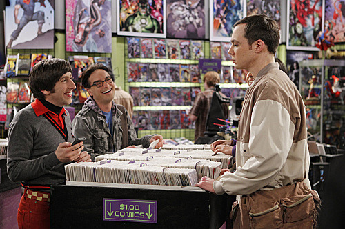 Sheldon (Jim Parsons, right) chooses to play video games with the guys (Simon Helberg, left; Johnny Galecki, center) on THE BIG BANG THEORY.