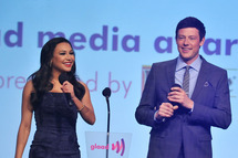 NEW YORK, NY - MARCH 24: Naya Rivera and Cory Monteith onstage during the 23rd Annual GLAAD Media Awards at the Marriott Marquis Hotel on March 24, 2012 in New York City. (Photo by Fernando Leon/Getty Images)