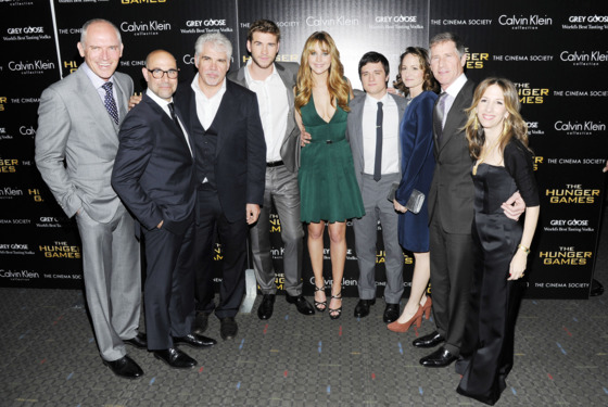 "Joe Drake, Stanley Tucci, Gary Ross, Liam Hemsworth, Jennifer Lawrence, Josh Hutcherson, Nina Jacobson, John Feltheimer, Alli Shearmur== The Cinema Society & Calvin Klein Collection host a screening of ""The Hunger Games""== SVA Theater, NYC== March 20, 2012== ©Patrick McMullan== Photo - Nicholas Hunt / PatrickMcMullan.com== =="