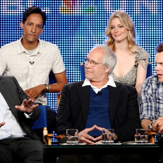 "PASADENA, CA - AUGUST 5:  Executive producer Dan Harmon of the television show ""Community"" speaks as actors Danny Pudi and Gillian Jacobs (top row) and Chevy Chase and Joel McHale (bottom row) look on during the NBC Network portion of the 2009 Summer Television Critics Association Press Tour at The Langham Huntington Hotel & Spa on August 5, 2009 in Pasadena, California. (Photo by Frederick M. Brown/Getty Images) *** Local Caption *** Dan Harmon;Danny Pudi;Gillian Jacobs;Chevy Chase;Joel McHale"