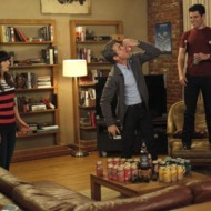 "NEW GIRL:  The gang plays drinking games when Jess (Zooey Deschanel, L) invites Russell (guest star Dermot Mulroney, C) to spend the weekend at the loft in the ""Normal"" episode of NEW GIRL airing Tuesday, April 10 (9:00-9:31 PM ET/PT) on FOX.  Also pictured:  Max Greenfield (R).  ©2012 Fox Broadcasting Co.  Cr:  Greg Gayne/FOX"