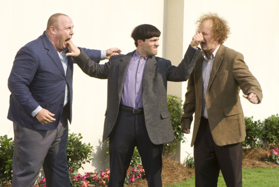 THE THREE STOOGES  In classic Stooges fashion, Moe (Chris Diamantopoulos) puts his pals Curly (Will Sasso, left) and Larry (Sean Hayes) in line.  TM and © 2012 Twentieth Century Fox Film Corporation.  All rights reserved.  The Three Stooges® name and characters are trademarks and copyrighted works of C3 Entertainment, Inc.  Not for sale or duplication.