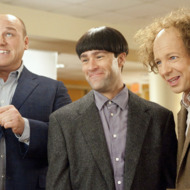 THE THREE STOOGES  The Three Stooges (Will Sasso, left, as Curly; Chris Diamantopoulos as Moe; and Sean Hayes as Larry) hatch yet another knuckleheaded scheme.  TM and © 2012 Twentieth Century Fox Film Corporation.  All rights reserved.  Not for sale or duplication.