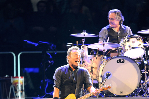 NEW YORK, NY - APRIL 06:  Max Weinberg and Bruce Springsteen perform at Madison Square Garden on April 6, 2012 in New York City.  (Photo by Jamie McCarthy/Getty Images)