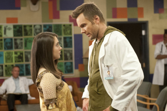 "COMMUNITY -- ""Virtual Systems Analysis"" Episode 316 -- Pictured: (l-r) Alison Brie as Annie, Joel McHale as Jeff -- Photo by: Neil Jacobs/NBC"