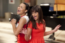 "GLEE: Santana (Naya Rivera, L) and Rachel (Lea Michele, R) perform in the ""Dance With Somebody"" episode of GLEE airing Tuesday, April 24 (8:00-9:00 PM ET/PT) on FOX."