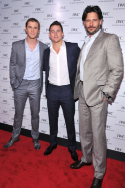 NEW YORK, NY - APRIL 25:  (L-R) Actors Chris Hemsworth, Channing Tatum and Joe Manganiello attend the IWC Flagship Boutique New York City Grand Opening at IWC Boutique on April 25, 2012 in New York City.  (Photo by Fernando Leon/Getty Images for IWC)