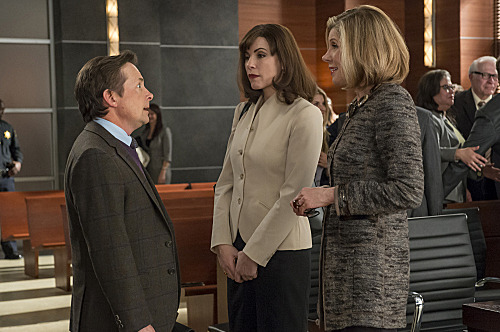 """The Dream Team""--Diane (Christine Baranski, right) and Alicia (Julianna Margulies, left) speak with Louis Canning (Michael J Fox) after a ruling doesn't go his way, on THE GOOD WIFE, Sunday, April 29 (9:01-10:02 PM ET/PT) on the CBS Television Network."