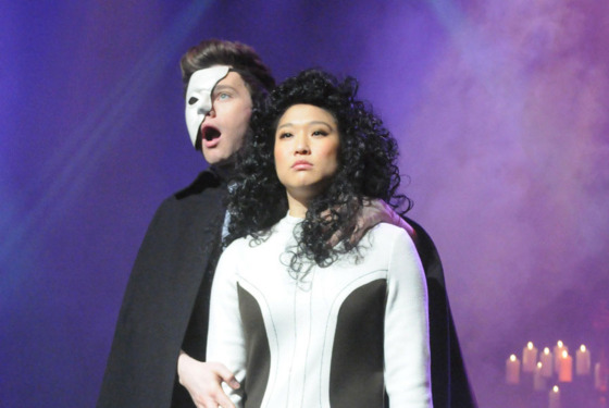 "GLEE: Kurt (Chris Colfer, L) and Tina (Jenna Ushkowitz, R) perform in the ""Choke"" episode of GLEE airing Tuesday, May 1 (8:00-9:00 PM ET/PT) on FOX. ©2012 Fox Broadcasting Co. Cr: Mike Yarish/FOX"