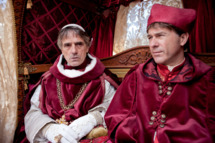 Jeremy Irons as Rodrigo Borgia and Peter Sullivan as Cardinal Ascanio Sforza in The Borgias